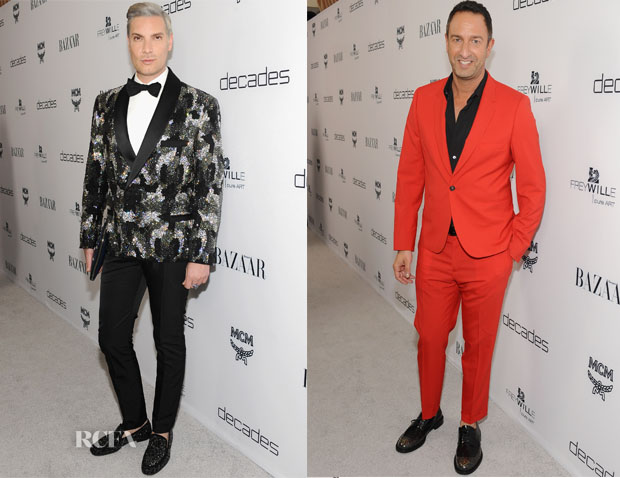 Cameron Silver In Atelier Versace & Christos Garkinos In Paul Smith - 'Dukes of Melrose' Launch Party
