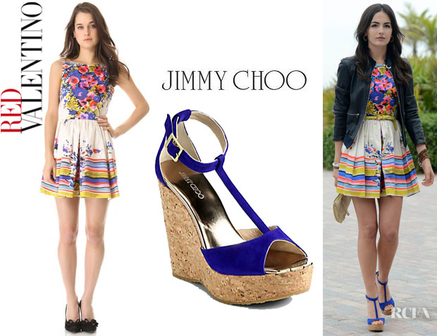 Camilla Belle's RED Valentino Flower Bouquet Dress And Jimmy Choo 'Pela' Wedges