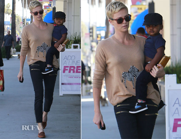 Charlize Theron In Madewell & Current/Elliott - Out In LA