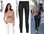 Charlize Theron's Madewell 'Zebra Love' Sweater And Current/Elliott 'The Stiletto' Cropped Low-Rise Skinny Jeans