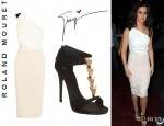 Cheryl Cole's Roland Mouret 'Belmont' Colour Block Dress And Giuseppe Zanotti Pyramid Studded T-Strap Sandals