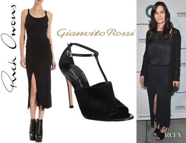 Courteney Cox's Rick Owens Wrap Front Skirt And Gianvito Rossi T-Strap Sandals