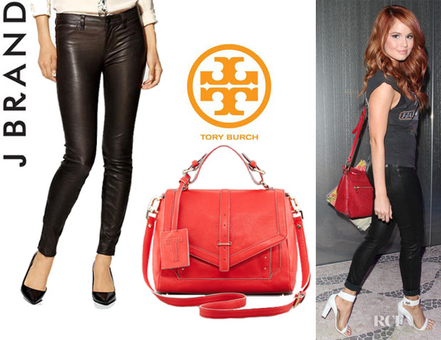 Debby Ryan's J Brand 'L8001' Leather Super Skinny Pants And Tory Burch '797' Leather Satchel