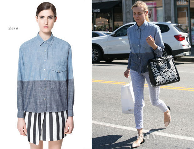 Diane Kruger In Zara Shirt & Adriano Goldschmied - Joan On The Third