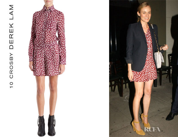 Diane Kruger S 10 Crosby By Derek Lam Kitty Print Romper