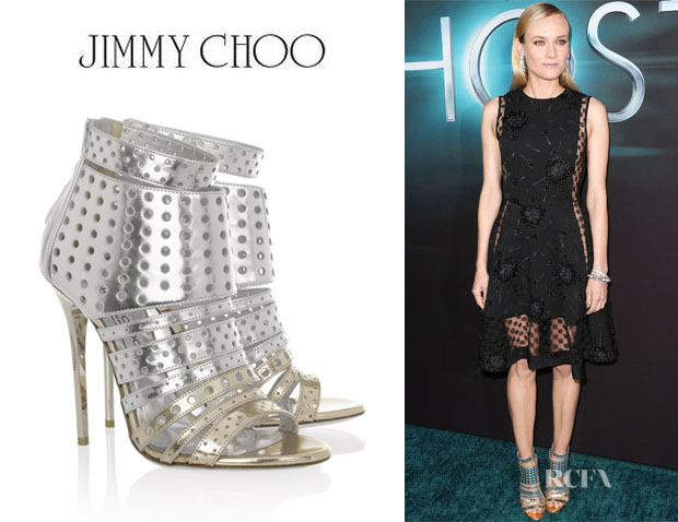 Diane Kruger's Jimmy Choo 'Malika' Perforated Leather Sandals