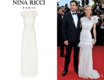 Diane Kruger's Nina Ricci Lace Trimmed Silk Chiffon Gown