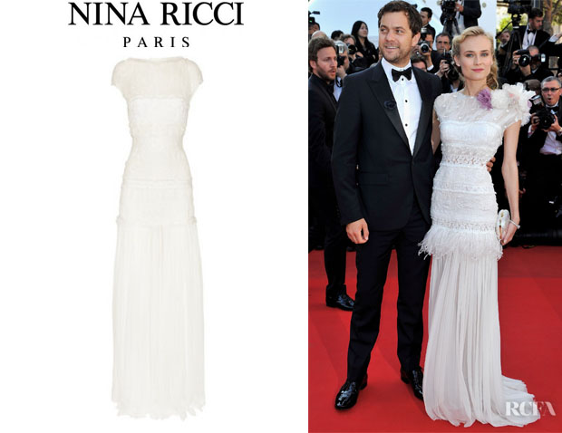 Diane Kruger S Nina Ricci Lace Trimmed Silk Chiffon Gown