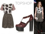 Emma Roberts' Topshop Mix And Match Shift Dress And Topshop 'Sissy' Woven Platforms