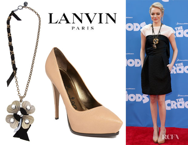 Emma Stone's Lanvin 'Cloverleaf' Necklace And Lanvin Pumps