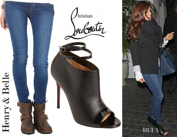 Eva Longoria's Henry & Belle Super Skinny Jeans And Christian Louboutin Diptic Leather Ankle Boots