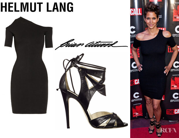 Halle Berry's Helmut Lang 'Gala' Cutout Knit Dress And Brian Atwood 'Uma' Leather Sandals
