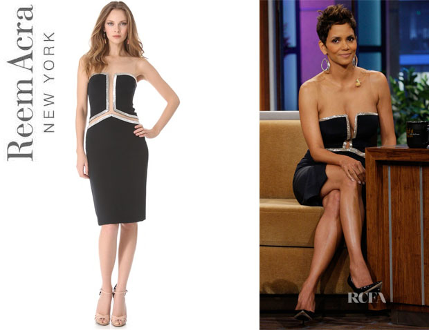 Halle Berry's Reem Acra Beaded Cutout Dress