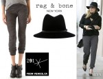 Hilary Duff's Rag & Bone Floppy Brim Fedora And 291 Slim Track Pants