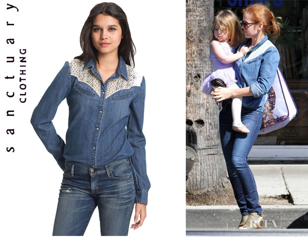 Isla Fisher's Sanctuary Lace Trim Denim Shirt