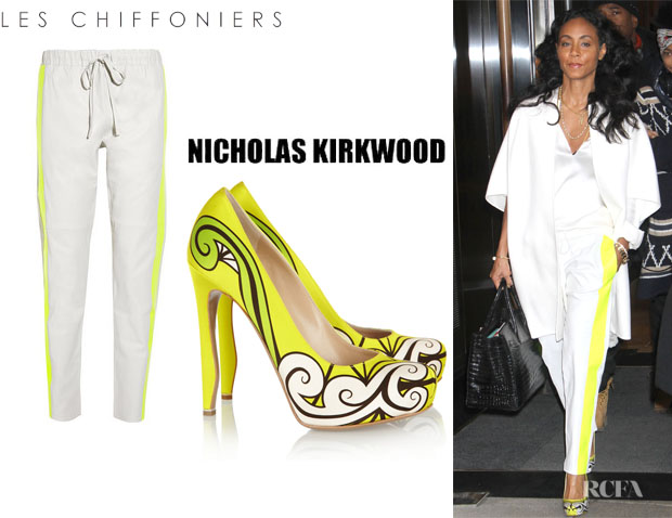 Jada Pinkett-Smith's Les Chiffoniers Neon Trimmed Drawstring Leather Pants And Nicholas Kirkwood Neon Printed Pumps