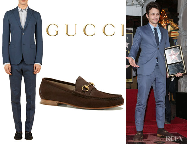 James Franco's Gucci Silk Cotton 'Poplin Monaco' Suit And Gucci '1953 Horsebit' Loafers