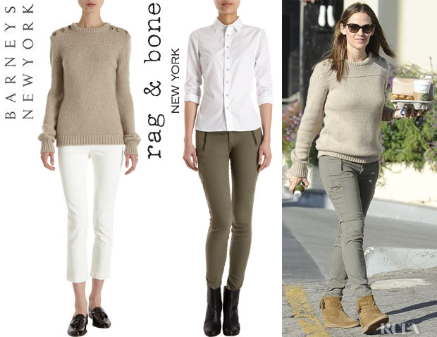 Jennifer Garner's Barneys New York Button Shoulder Sweater, Rag & Bone 'Rally' Cargo Pants And Isabel Marant Basley Wedge Ankle Boots