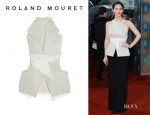Jennifer Garner's Roland Mouret Lorong Folded Crepe And Silk Top