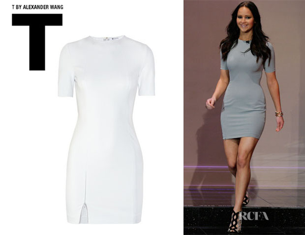 Jennifer Lawrence's T By Alexander Wang Paneled Stretch Crepe Dress