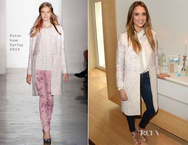 Jessica Alba In Peter Som & Maje - 'The Honest Life' Mondrian Hotel Book Promotion
