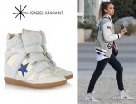 Jessica Alba's Isabel Marant 'Bayley' Suede And Leather High-Top Sneakers