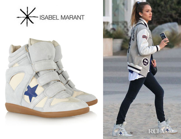 Jessica Alba's Isabel Marant Bayley Suede And Leather High-Top Sneakers