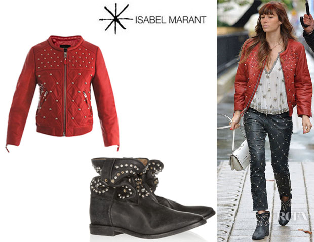 Jessica Biel's Isabel Marant 'Bloomen' Leather Bomber Jacket And 'Caleen' Studded Leather Boots