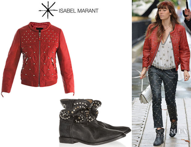 Jessica Biel's Isabel Marant 'Bloomen' Leather Bomber Jacket And 'Caleen' Studded Leather Boots1