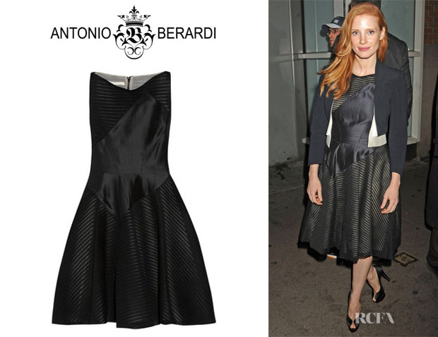 Jessica Chastain's Antonio Berardi Flared Mesh Dress
