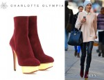 Jessica Hart's Charlotte Olympia 'Lucinda' Ankle Boots
