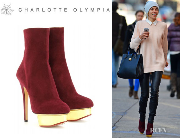 Jessica Hart's Charlotte Olympia 'Lucinda' Ankle Boots copy