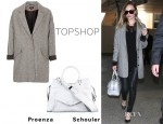 Kate Bosworth's Topshop Boyfriend Coat And Proenza Schouler PS13 Tote