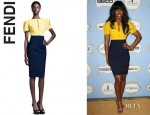 Kelly Rowland's Fendi Short Sleeve Bifabric Dress