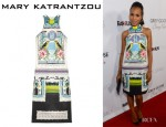Kerry Washington's Mary Katrantzou 'Rodizio' Printed Silk-Twill Dress