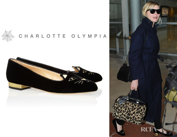 Kirsten Dunst's Charlotte Olympia 'Kitty' Embroidered Velvet Slippers