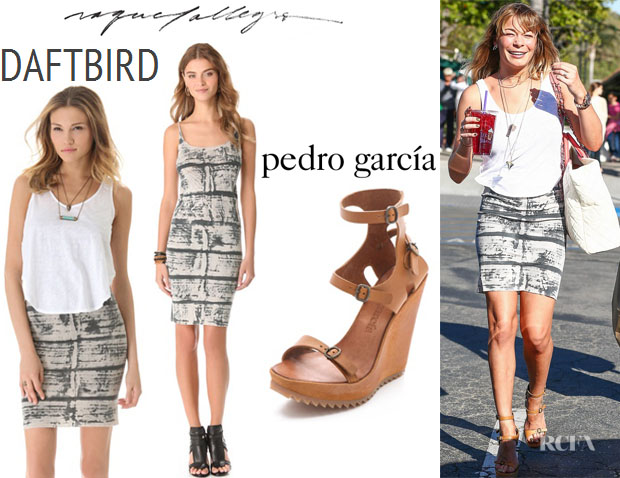 LeAnn Rimes' Daftbird Button Side Tank, Raquel Allegra Layering Tank Dress And Pedro Garcia 'Valeria' Buckle Sandals