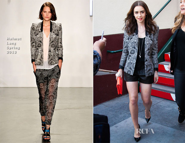 Lily Collins In Helmut Lang - Extra
