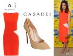 Michelle Monaghan's Roksanda Ilincic 'Jarrett Diamond' Crepe Dress And Casadei 'Blade' Pumps
