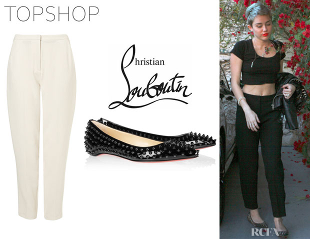 Miley Cyrus' Topshop Premium Peg Leg Trousers And Christian Louboutin 'Pigalle' Spikes Ballet Flats