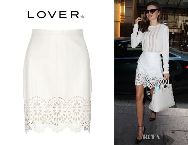 Miranda Kerr's Lover 'Catherine' Laser-Cut Leather Skirt