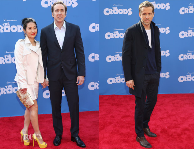 Nicolas Cage In Ferragamo & Ryan Reynolds In GANT Rugger - 'The Croods' New York Premiere