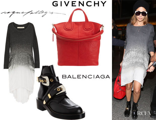 Nicole Richie's Raquel Allegra Laddered Tie-Dye Jersey Dress, Balenciaga Buckle Strap Ankle Boots And Givenchy Nightingale Shopper