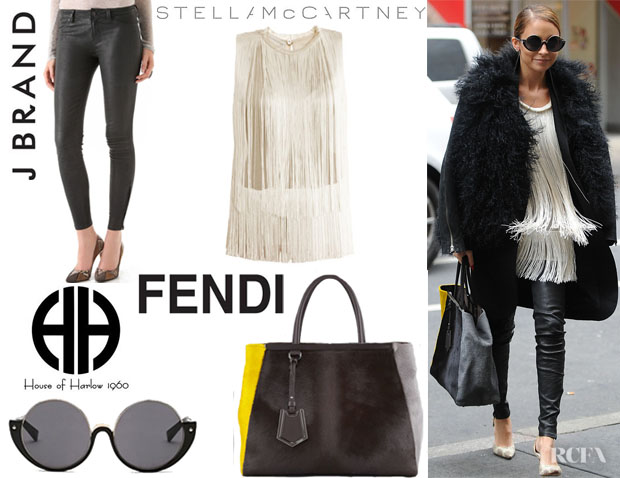 Nicole Richie's Stella McCartney 'Columbia' Fringe Blouse, J Brand Super Skinny Leather Pants, House of Harlow 1960 'Dreamer' Sunglasses And Fendi '2Jours' Calf Hair Tote