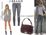 Nikki Reed's Lovers + Friends 'Addicted To Love' Blazer, J Brand 811 Mid-Rise Skinny Jeans And Rebecca Minkoff 'Endless Love' Satchel