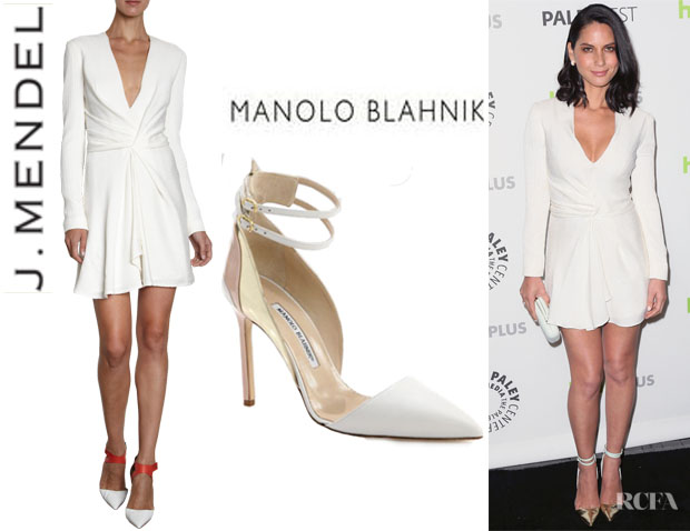 Olivia Munn's J. Mendel Long Sleeve Dress And Manolo Blahnik 'Misto' Leather Pumps