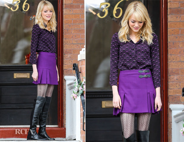 On The Set Of The Amazing Spider Man 2 With Emma Stone In Cynthia Rowley Red Carpet Fashion Awards