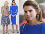 Queen Rania of Jordan In Antonio Berardi - Duchess of Cornwall and Prince Charles Amman School Visit