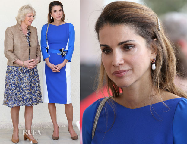 Queen Rania of Jordan In Antonio Berardi - Duchess of Cornwall and Prince Charles Royal Visit To Qatar, Saudi Arabia and Oman