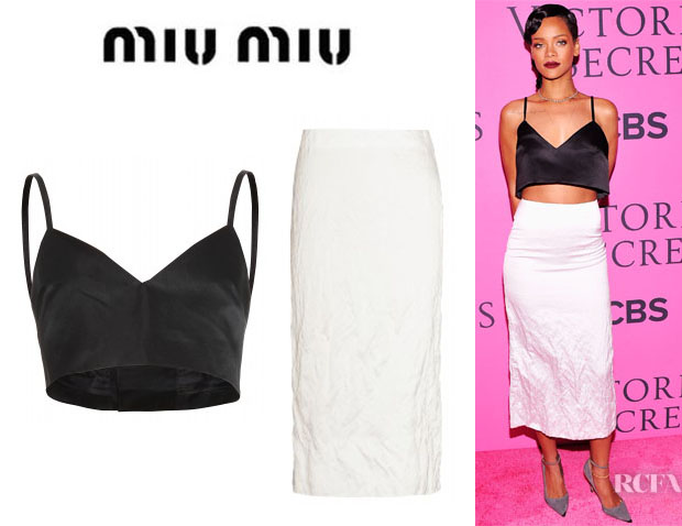 Rihanna's Miu Miu Satin Bra Top And Miu Miu Crinkled Pencil Skirt